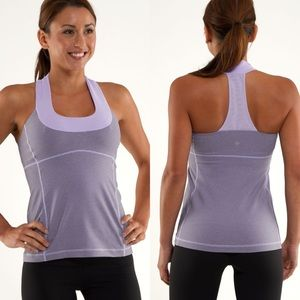 Lululemon Scoop Neck Tank Lilac Heathered Coal